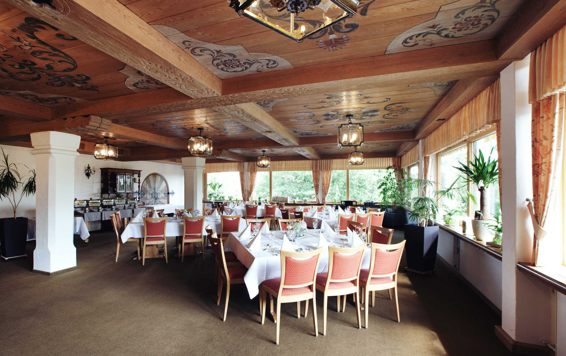 Restaurant room with set up tables