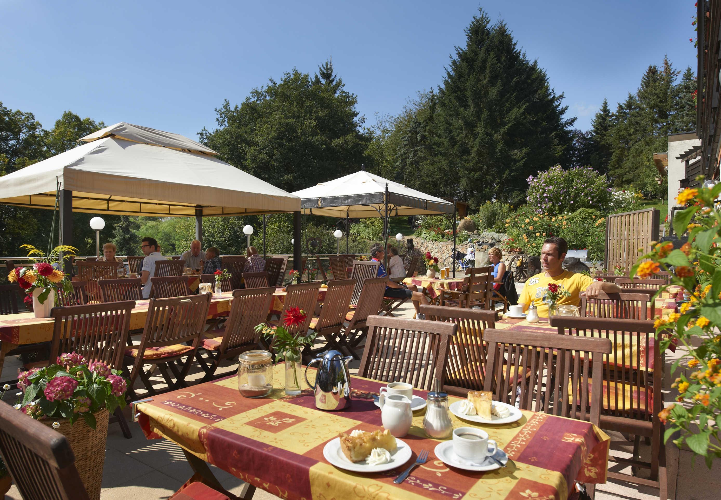 Sun terrace with tables