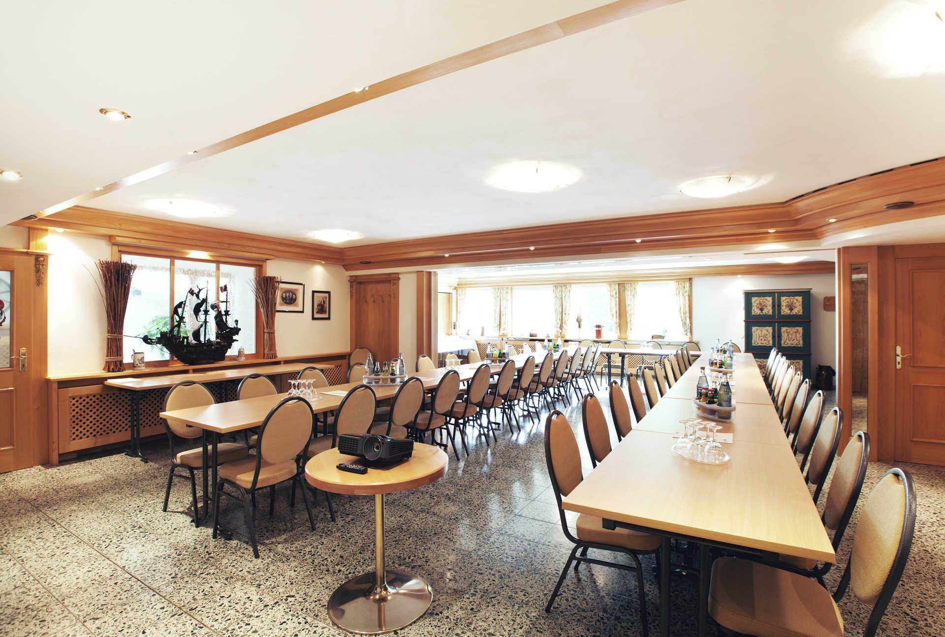 Conference room with tables and projector