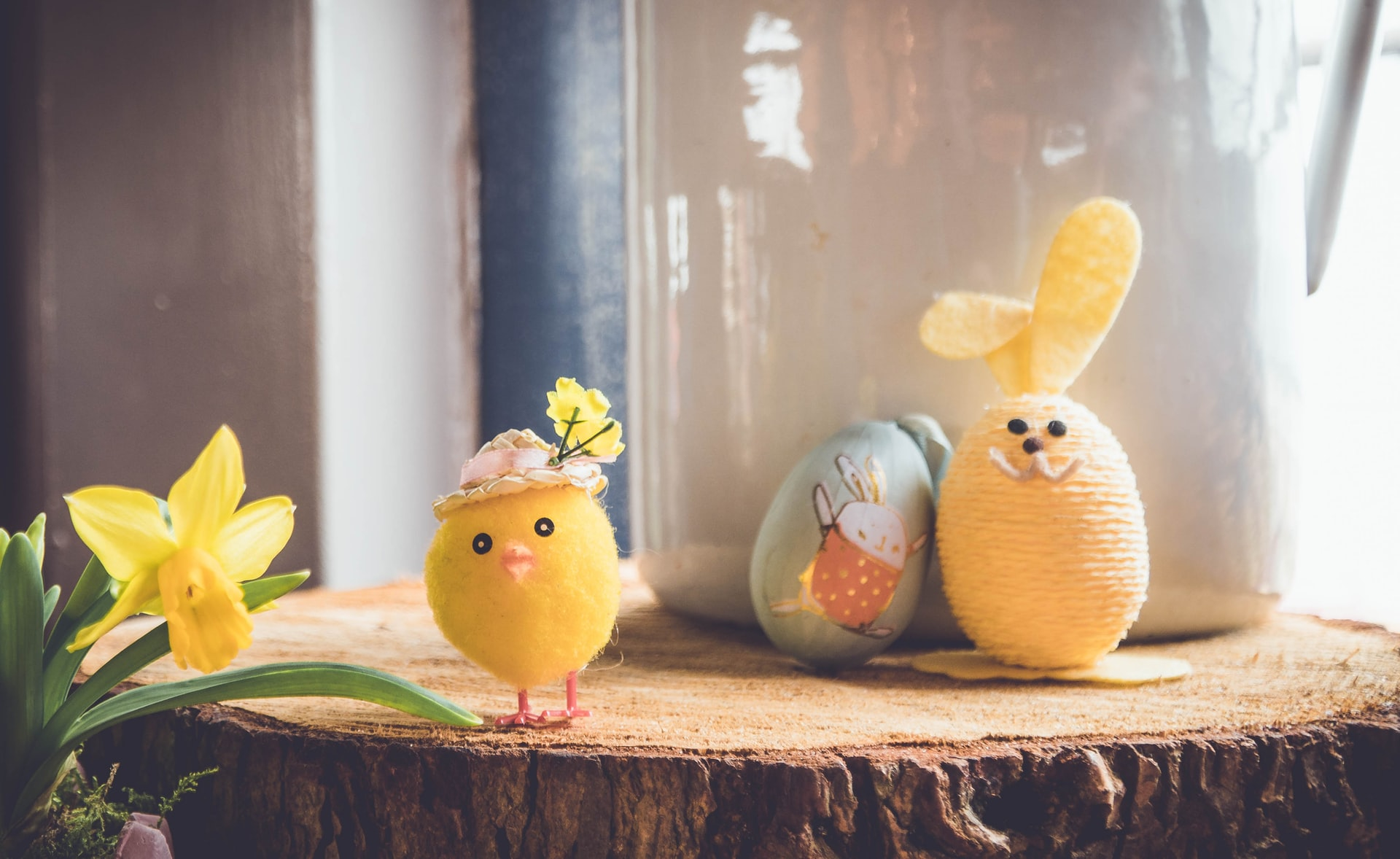 Felted Easter chick on a table