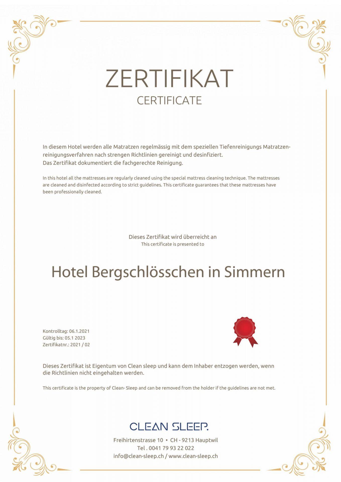 Hotel Bergschlößchen - Reinigungszertifikat